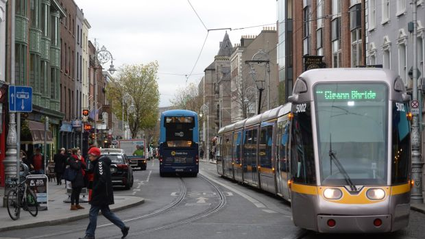 A Luas travelling along Dawson Street, Dublin in a file photograph by Dara Mac Dónaill